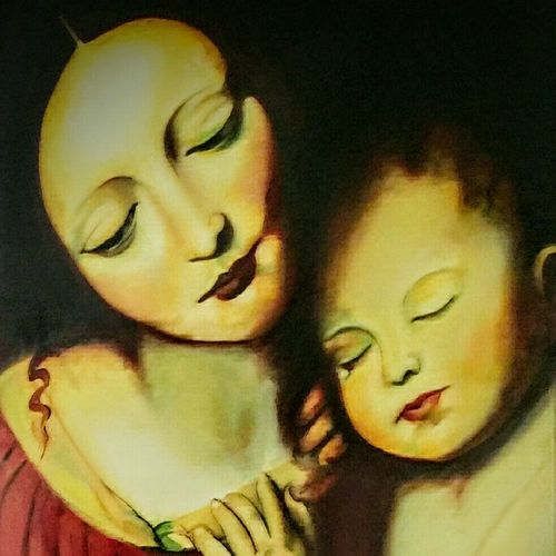 motherhood, 18 x 24 inch, isha agarwal,portrait paintings,paintings for bedroom,canvas,oil,18x24inch,GAL013853760