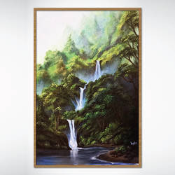 waterfall, 15 x 22 inch, yogita kolge,15x22inch,canvas board,paintings,wildlife paintings,nature paintings | scenery paintings,paintings for living room,acrylic color,GAL02323837609