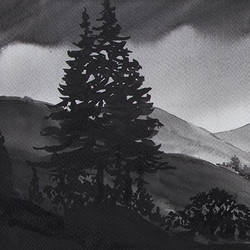 nature in black, 22 x 7 inch, gaurav jain,landscape paintings,paintings for living room,horizontal,handmade paper,ink color,22x7inch,GAL013673761