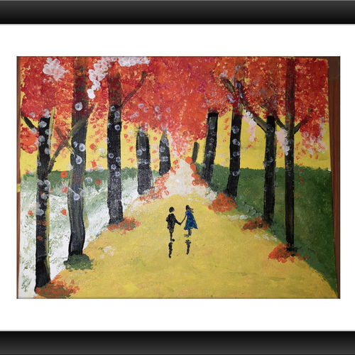couples in the forest, 10 x 12 inch, gayathri vignesh,10x12inch,canvas,abstract paintings,landscape paintings,love paintings,paintings for dining room,paintings for living room,paintings for bedroom,paintings for dining room,paintings for living room,paintings for bedroom,acrylic color,GAL02612137614