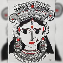 mandal art- godess durga, 17 x 12 inch, anjuli kulshreshtha ,17x12inch,thick paper,drawings,paintings for living room,art deco drawings,figurative drawings,fine art drawings,illustration drawings,paintings for living room,natural color,pen color,watercolor,graphite pencil,GAL02612337618