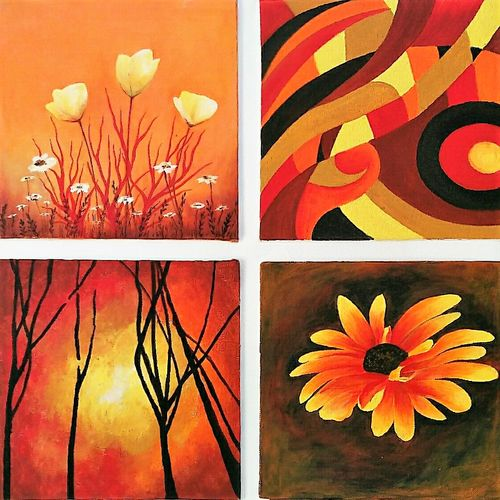 colours of the sun, 12 x 12 inch, isha agarwal,abstract paintings,paintings for living room,multi piece paintings,canvas,acrylic color,12x12inch,GAL013853762