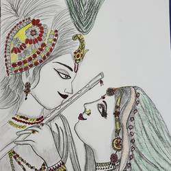 radha-krishna , 17 x 12 inch, anjuli kulshreshtha ,17x12inch,thick paper,drawings,art deco drawings,figurative drawings,fine art drawings,illustration drawings,impressionist drawings,realism drawings,radha krishna drawings,paintings for living room,paintings for bedroom,paintings for office,paintings for hotel,paintings for hospital,ink color,natural color,pen color,graphite pencil,GAL02612337623