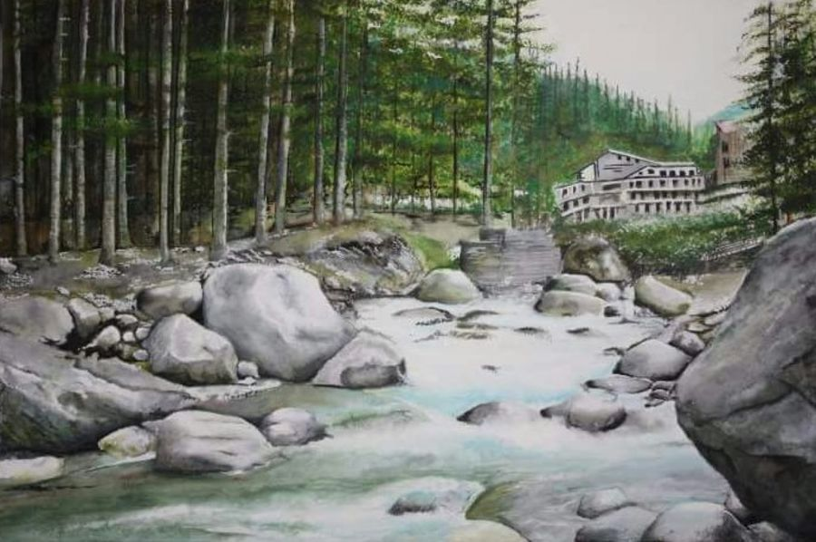 trip to manali, 14 x 9 inch, isha agarwal,landscape paintings,paintings for living room,brustro watercolor paper,watercolor,14x9inch,GAL013853763