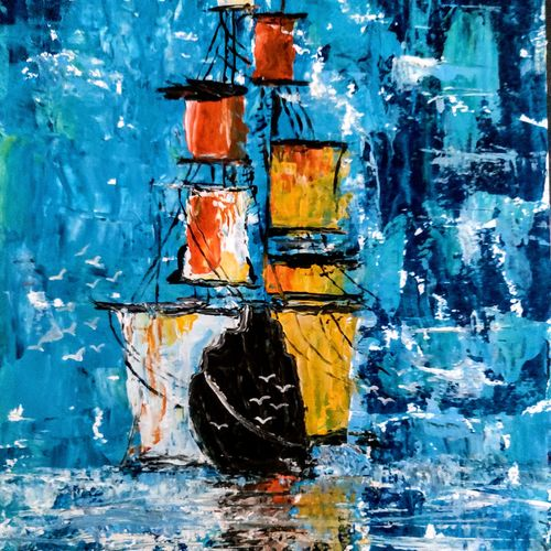 ship in storm, 8 x 11 inch, kabita b. lahkar,8x11inch,thick paper,paintings,abstract paintings,figurative paintings,landscape paintings,still life paintings,nature paintings   scenery paintings,paintings for dining room,paintings for living room,paintings for bedroom,paintings for office,paintings for hotel,paintings for school,paintings for hospital,fine art drawings,paintings for dining room,paintings for living room,paintings for bedroom,paintings for office,paintings for hotel,paintings for school,paintings for hospital,acrylic color,GAL02611237633