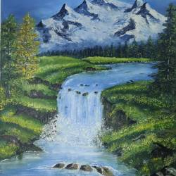 flashy stream in snowy mountain, 14 x 18 inch, deepak chougule,14x18inch,canvas,paintings,nature paintings | scenery paintings,paintings for living room,paintings for office,paintings for hotel,paintings for living room,paintings for office,paintings for hotel,oil color,GAL02602837640