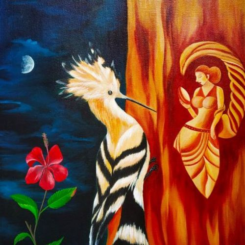 the carving beauty, 18 x 18 inch, salisalima ratha,18x18inch,canvas,paintings,figurative paintings,paintings for dining room,paintings for living room,paintings for bedroom,paintings for office,paintings for kids room,paintings for hotel,paintings for school,paintings for hospital,oil color,GAL02519837644
