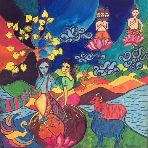 soul connection - radha krishna, 20 x 20 inch, swatilekha majumder,20x20inch,canvas,abstract paintings,modern art paintings,conceptual paintings,religious paintings,abstract expressionism paintings,expressionism paintings,photorealism paintings,photorealism,surrealism paintings,radha krishna paintings,contemporary paintings,paintings for living room,paintings for bedroom,paintings for hotel,paintings for living room,paintings for bedroom,paintings for hotel,acrylic color,GAL02230137645