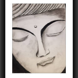 buddha charcoal painting , 12 x 17 inch, gayathri vignesh,12x17inch,thick paper,paintings,buddha paintings,religious paintings,paintings for dining room,paintings for living room,paintings for bedroom,paintings for office,paintings for kids room,paintings for hotel,paintings for kitchen,paintings for school,paintings for hospital,charcoal,GAL02612137646