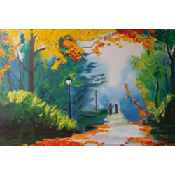 walk in the woods, 23 x 33 inch, madhavi dwivedi,23x33inch,canvas,paintings,flower paintings,landscape paintings,nature paintings | scenery paintings,oil color,GAL02616537655