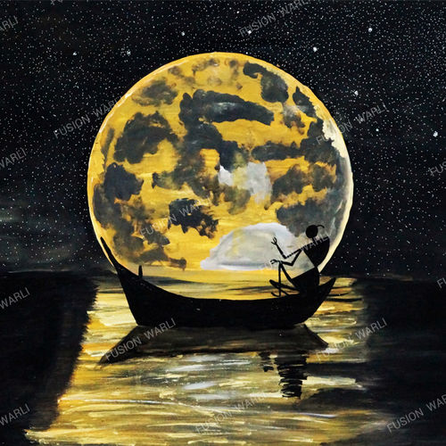moonlight travel, 35 x 25 inch, hema  thakur,35x25inch,canvas board,paintings,folk art paintings,landscape paintings,modern art paintings,conceptual paintings,minimalist paintings,warli paintings,paintings for dining room,paintings for living room,paintings for bedroom,paintings for office,paintings for kids room,paintings for hotel,paintings for school,paintings for hospital,acrylic color,mixed media,oil color,GAL02616737657