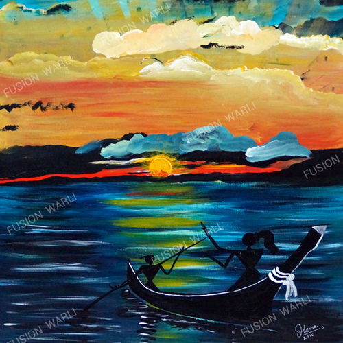 sailing in love, 25 x 35 inch, hema  thakur,25x35inch,canvas board,paintings,abstract paintings,figurative paintings,folk art paintings,landscape paintings,modern art paintings,conceptual paintings,warli paintings,paintings for dining room,paintings for living room,paintings for bedroom,paintings for office,paintings for kids room,paintings for hotel,paintings for kitchen,paintings for school,paintings for hospital,acrylic color,mixed media,oil color,GAL02616737658