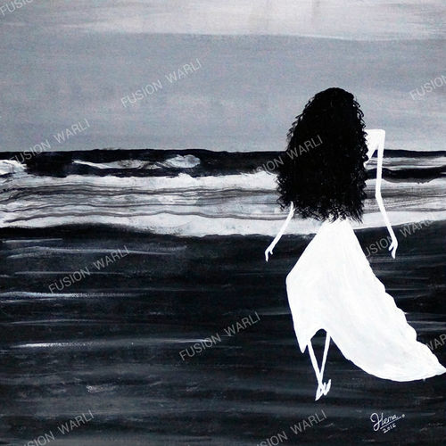 freedom of soul, 18 x 25 inch, hema  thakur,18x25inch,canvas board,paintings,figurative paintings,folk art paintings,conceptual paintings,contemporary paintings,warli paintings,paintings for dining room,paintings for living room,paintings for bedroom,paintings for office,paintings for kids room,paintings for hotel,paintings for kitchen,paintings for school,paintings for hospital,acrylic color,mixed media,oil color,GAL02616737659