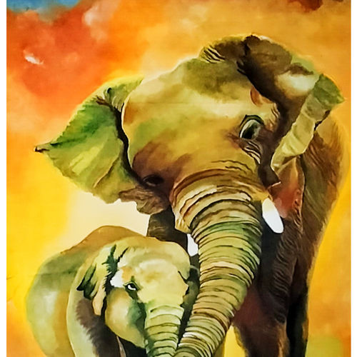 mother baby bonding , 20 x 29 inch, rachita bhaumik ,20x29inch,canvas,paintings,nature paintings | scenery paintings,animal paintings,paintings for dining room,paintings for living room,paintings for bedroom,paintings for office,acrylic color,GAL02099637665