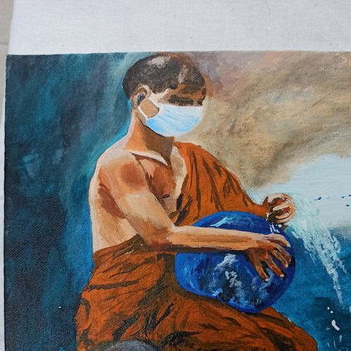 living with covid, 8 x 10 inch, kumari anukriti,8x10inch,canvas,paintings,modern art paintings,conceptual paintings,religious paintings,portrait paintings,photorealism,portraiture,paintings for dining room,paintings for living room,paintings for bedroom,paintings for office,paintings for hotel,paintings for school,paintings for hospital,acrylic color,GAL02547437669