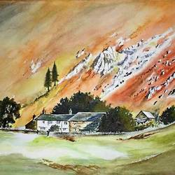 landscape , 14 x 9 inch, isha agarwal,landscape paintings,paintings for living room,nature paintings,brustro watercolor paper,watercolor,14x9inch,GAL013853767Nature,environment,Beauty,scenery,greenery,trees,houses,beautiful