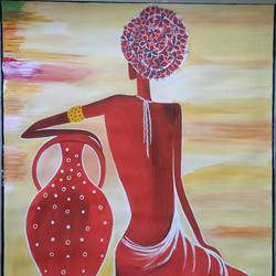 beautiful woman, 21 x 25 inch, aparna madane,21x25inch,drawing paper,paintings,figurative paintings,mixed media,poster color,GAL02619037678