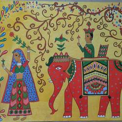 madhubani painting, 21 x 27 inch, aparna madane,21x27inch,drawing paper,paintings,madhubani paintings | madhubani art,mixed media,poster color,GAL02619037679
