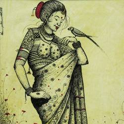 traditional woman in sari, 10 x 14 inch, gaurav jain,figurative drawings,paintings for living room,vertical,handmade paper,ink color,10x14inch,GAL013673768