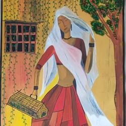 beautiful woman, 17 x 26 inch, aparna madane,17x26inch,drawing paper,paintings,figurative paintings,acrylic color,mixed media,GAL02619037681