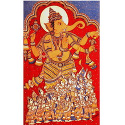 ganesh prayer, 22 x 35 inch, kachireddy sivaprasad reddy,22x35inch,cloth,handicrafts,ganesha statue,wall hangings,religious statues,temples,natural color,GAL02612237691