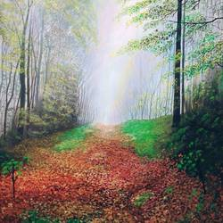 mystery of fallen leaves, 24 x 30 inch, md moin ,24x30inch,canvas,landscape paintings,acrylic color,GAL01096037696