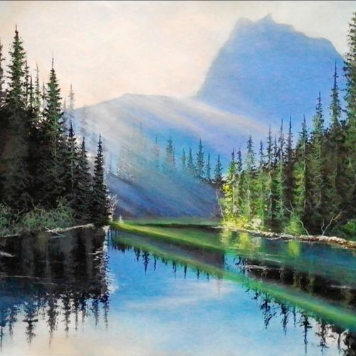 morning rays, 29 x 22 inch, md moin ,29x22inch,canvas,paintings,landscape paintings,paintings for living room,acrylic color,GAL01096037698