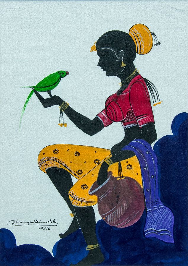 lady with parrot, 10 x 14 inch, gaurav jain,figurative paintings,paintings for living room,vertical,handmade paper,mixed media,10x14inch,GAL013673770