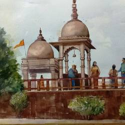 bhojpur tample, 27 x 20 inch, kk malviya,27x20inch,paper,paintings,landscape paintings,watercolor,GAL02619737704