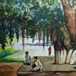 under the tree, 20 x 14 inch, kk malviya,20x14inch,paper,landscape paintings,watercolor,GAL02619737706