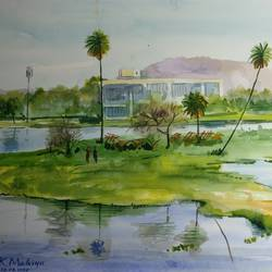 shrinking lake, 16 x 12 inch, kk malviya,16x12inch,paper,paintings,landscape paintings,watercolor,GAL02619737707