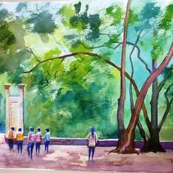borivali national park, 17 x 13 inch, kk malviya,17x13inch,paper,paintings,landscape paintings,watercolor,GAL02619737708