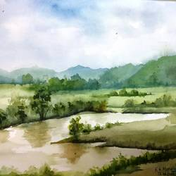 after the rain, 19 x 14 inch, kk malviya,19x14inch,paper,paintings,landscape paintings,watercolor,GAL02619737709
