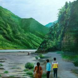 ganga at rishikesh, 36 x 24 inch, kk malviya,36x24inch,canvas,paintings,landscape paintings,acrylic color,GAL02619737710