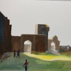 bidar fort, 12 x 9 inch, kk malviya,12x9inch,thick paper,paintings,landscape paintings,acrylic color,GAL02619737711