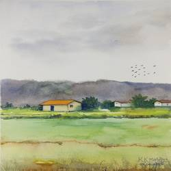 a village scene, 11 x 14 inch, kk malviya,11x14inch,paper,paintings,landscape paintings,watercolor,GAL02619737712