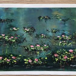 blooming lotus , 17 x 13 inch, nazrana  khan ,17x13inch,canvas,paintings,flower paintings,paintings for living room,paintings for school,acrylic color,GAL02619337713