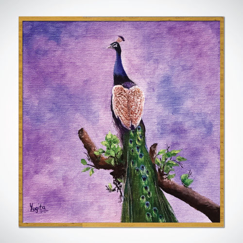 peacock hand painted acrylic painting, 10 x 10 inch, yogita kolge,10x10inch,canvas board,abstract paintings,nature paintings | scenery paintings,paintings for living room,paintings for living room,acrylic color,GAL02323837717