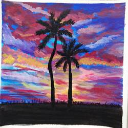tropical sunset painting, 12 x 12 inch, vidhya narayanasamy,12x12inch,canvas,paintings,landscape paintings,nature paintings | scenery paintings,paintings for dining room,paintings for living room,paintings for bedroom,paintings for office,paintings for kids room,paintings for hotel,paintings for school,acrylic color,GAL02450737721
