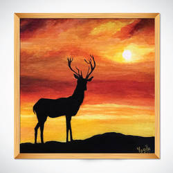 deer hand painted acrylic painting, 12 x 12 inch, yogita kolge,12x12inch,canvas board,paintings,wildlife paintings,animal paintings,paintings for living room,art deco drawings,paintings for living room,acrylic color,GAL02323837722