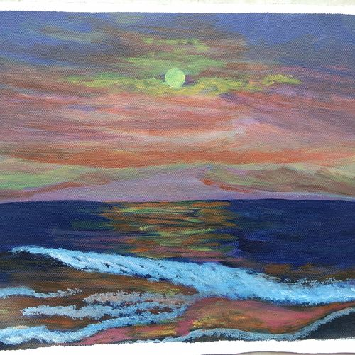 ocean sunset painting , 16 x 12 inch, vidhya narayanasamy,16x12inch,canvas,paintings,landscape paintings,nature paintings | scenery paintings,photorealism paintings,paintings for dining room,paintings for living room,paintings for bedroom,paintings for office,paintings for kids room,paintings for hotel,paintings for kitchen,paintings for school,paintings for hospital,acrylic color,GAL02450737728