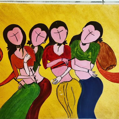 vaahini, 15 x 12 inch, shubhra meharu,15x12inch,canvas,paintings,abstract paintings,folk art paintings,modern art paintings,abstract expressionism paintings,art deco paintings,pop art paintings,street art,contemporary paintings,paintings for dining room,paintings for living room,paintings for bedroom,paintings for office,paintings for bathroom,paintings for kids room,paintings for hotel,paintings for kitchen,paintings for school,paintings for hospital,oil color,GAL02620837739