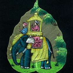 elephant on leaf, 7 x 9 inch, gaurav jain,wildlife paintings,paintings for living room,leaf,poster color,7x9inch,GAL013673774