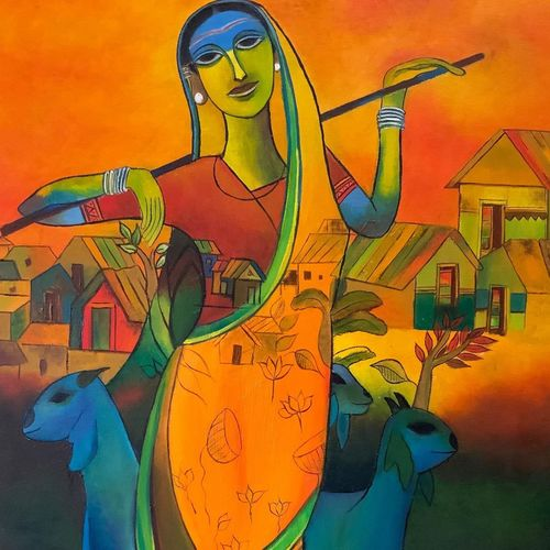 lady with sheep, 18 x 20 inch, radhika deshpande,18x20inch,canvas,figurative paintings,folk art paintings,multi piece paintings,conceptual paintings,portrait paintings,expressionism paintings,impressionist paintings,portraiture,animal paintings,realistic paintings,love paintings,paintings for dining room,paintings for living room,paintings for office,paintings for hotel,paintings for kitchen,paintings for school,paintings for dining room,paintings for living room,paintings for office,paintings for hotel,paintings for kitchen,paintings for school,oil color,GAL02621937746