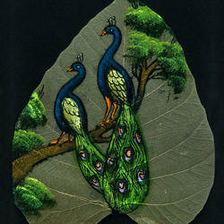 peacock on leaf, 7 x 9 inch, gaurav jain,wildlife paintings,paintings for living room,animal paintings,leaf,poster color,7x9inch,GAL013673775