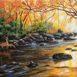 deer and stream, 16 x 12 inch, prabha  panth,16x12inch,hardboard,paintings,landscape paintings,nature paintings | scenery paintings,paintings for dining room,paintings for living room,paintings for hospital,paintings for dining room,paintings for living room,paintings for hospital,acrylic color,GAL0390737751