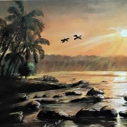 sunrise, 18 x 15 inch, prabha  panth,18x15inch,hardboard,paintings,landscape paintings,nature paintings | scenery paintings,paintings for dining room,paintings for living room,paintings for office,paintings for dining room,paintings for living room,paintings for office,acrylic color,GAL0390737752