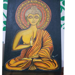 buddha, 30 x 40 inch, sushama arts,30x40inch,canvas,buddha paintings,acrylic color,GAL02622137753