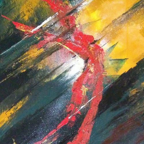 red soul, 20 x 24 inch, arpana d,abstract paintings,paintings for living room,canvas,acrylic color,20x24inch,GAL09643776