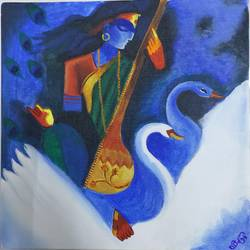 goddess saraswati, 12 x 12 inch, manoj mule,12x12inch,canvas board,paintings,religious paintings,paintings for living room,acrylic color,GAL02624137760
